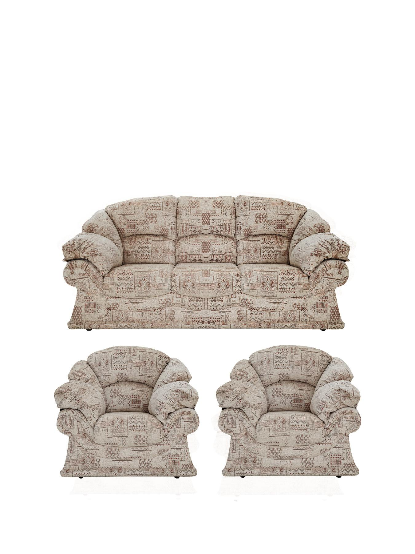 Harrow 3-Seater plus 2-Seater Fabric Sofa Set (Buy and SAVE!), Chocolate at Littlewoods Home Shopping