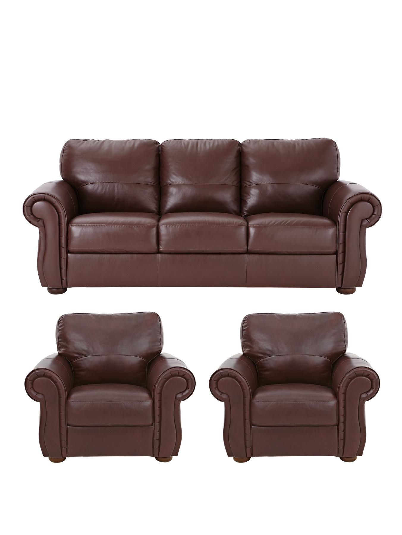 Cassina Italian Leather 3-Seater Sofa plus 2 Armchairs (buy and SAVE!), Tan,Brown