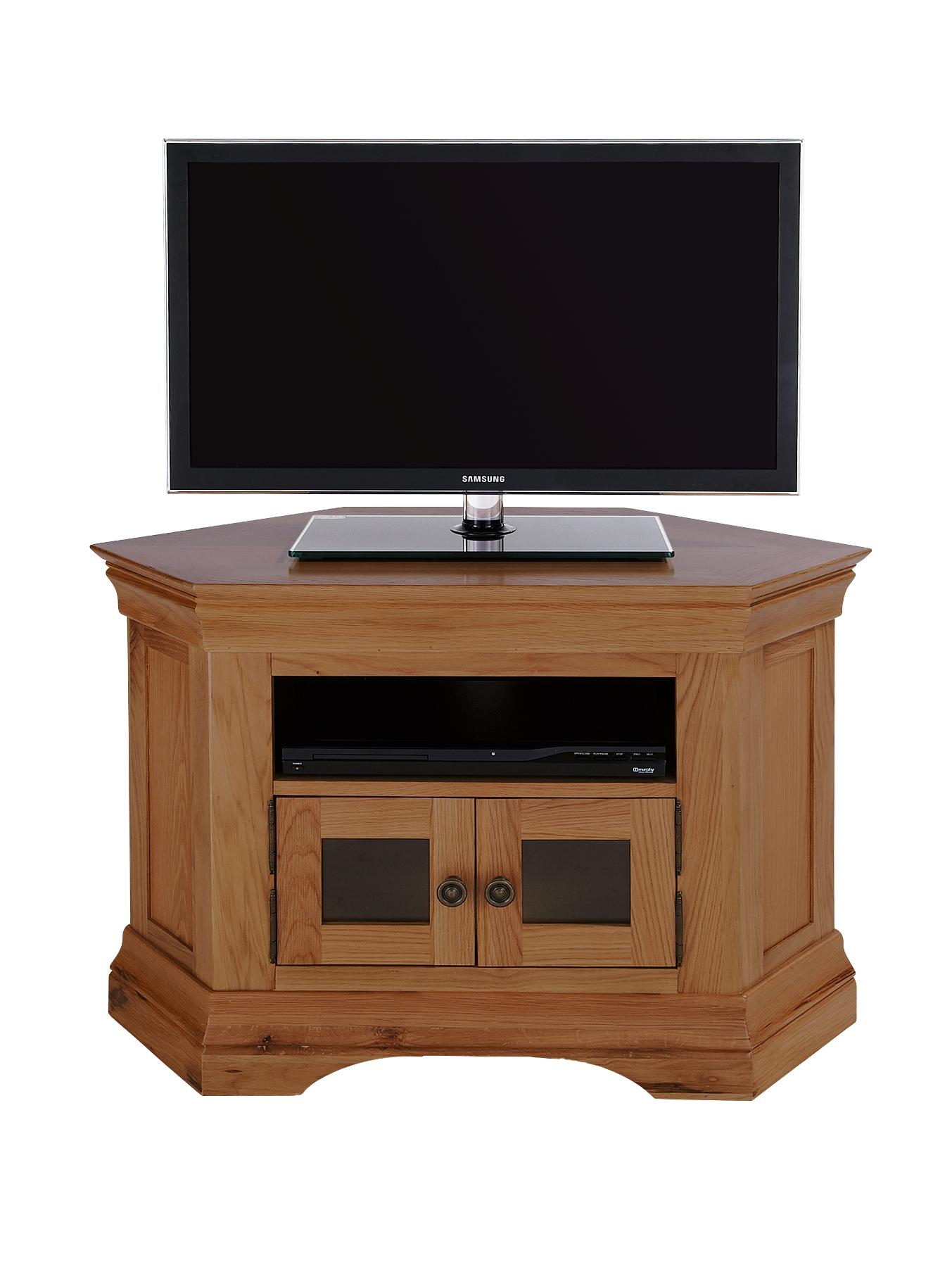 Constance Ready Assembled Solid Oak Corner TV Unit - fits up to 42 inch TV