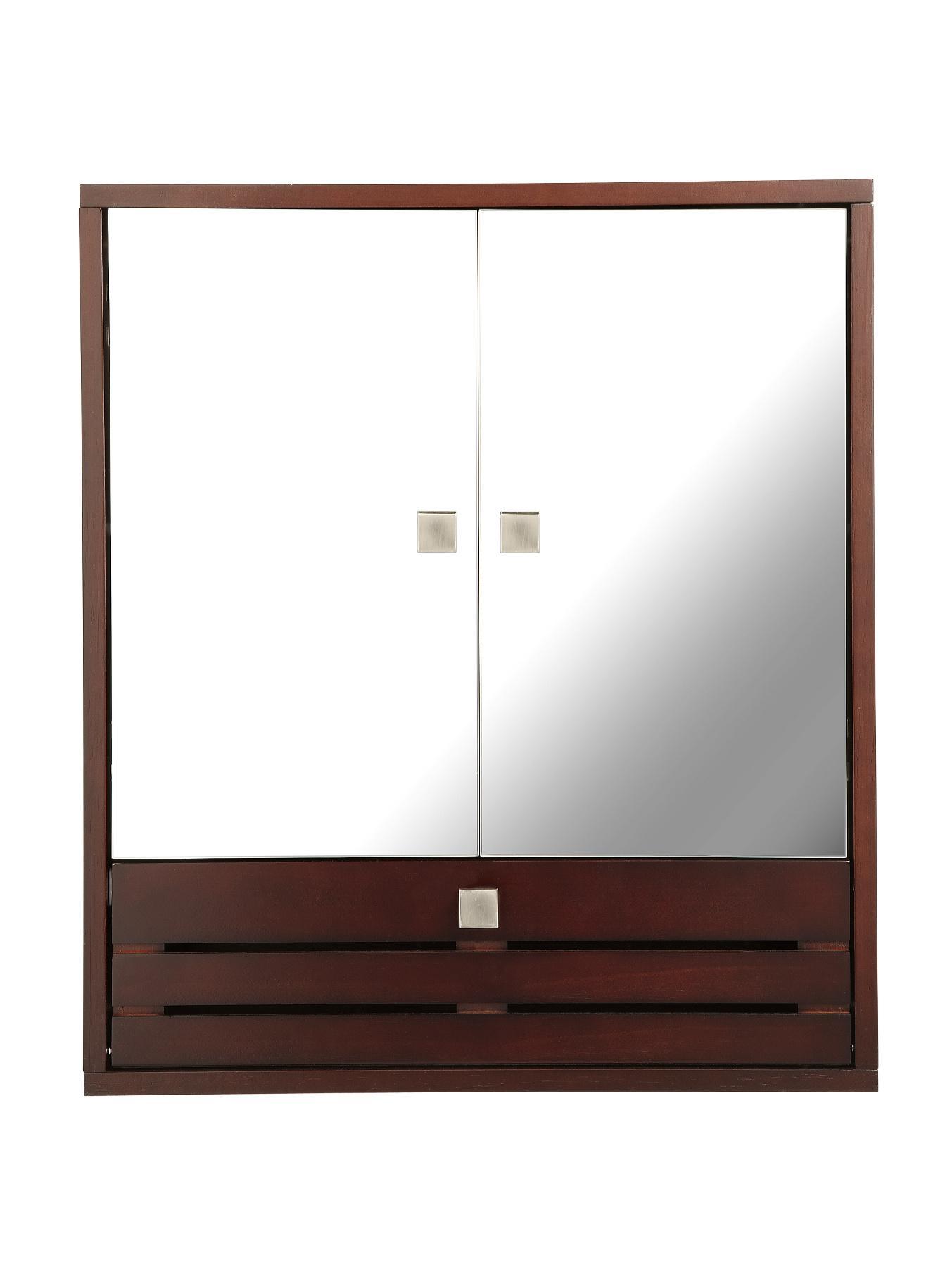 Slatted 3-Door Mirrored Bathroom Cabinet - Dark Wood