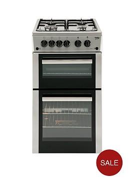 beko-bdg582sp-50cm-twin-cavity-gas-cooker-silver