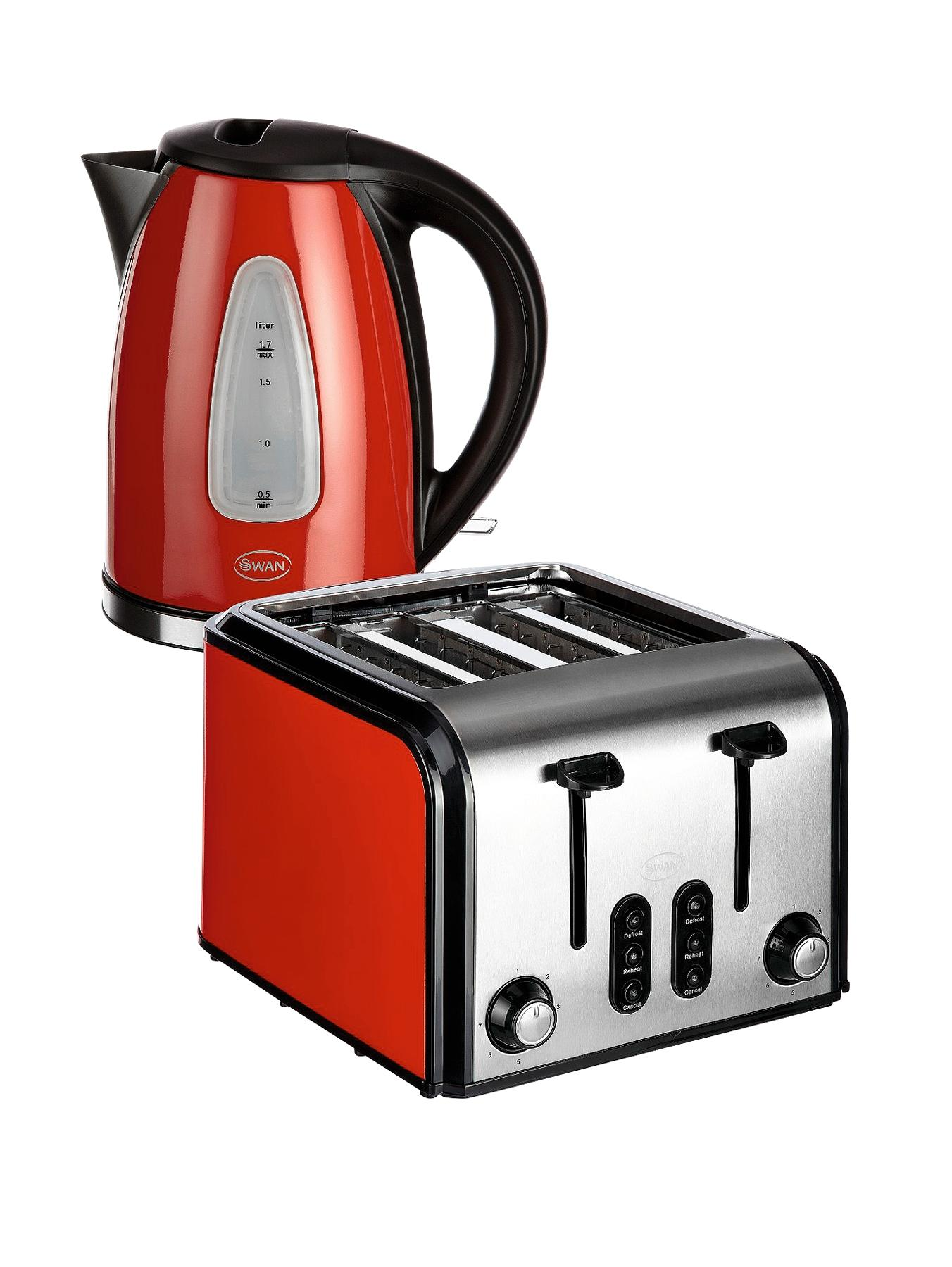 SK13110R/ST70100R Fastboil Kettle and 4 Slice Toaster Pack - Red