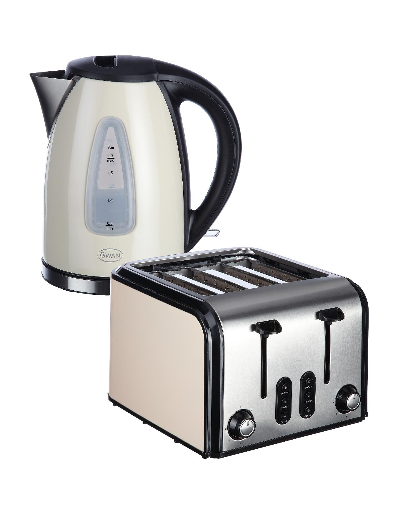 SK13110C/ST70100C Fastboil Kettle and 4 Slice Toaster Pack - Cream