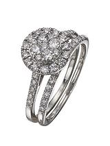 9 Carat White Gold 100pt Diamond Bridal Set