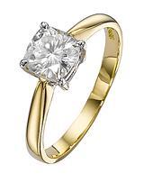 18 Carat White Gold 100pt Equivalent Moissanite Cushion Cut Ring