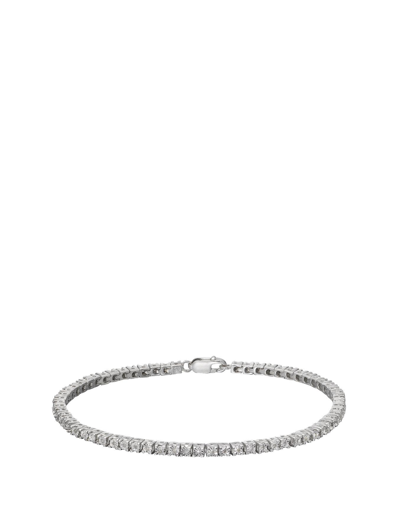 Sterling Silver 25 Point Diamond Tennis Bracelet