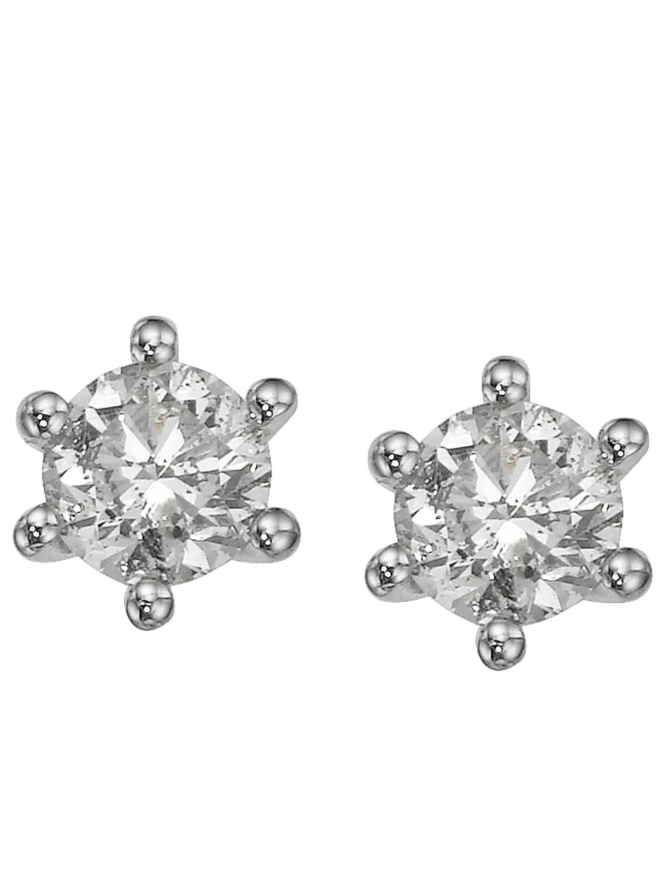 Sterling Silver 25 Point Diamond Solitaire Earrings