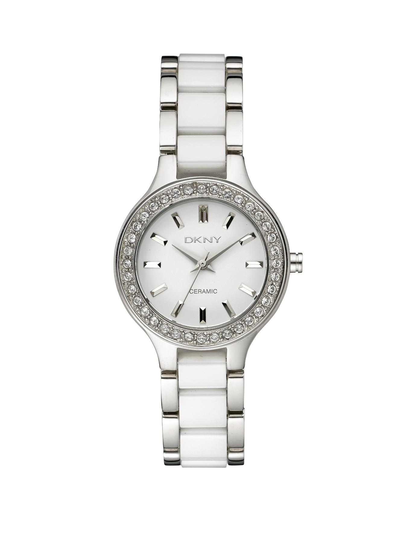 White Ceramic and Stainless Steel Ladies Watch
