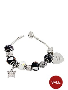 personalised-heart-charm-bracelet-black