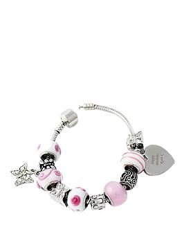 personalised-silver-tone-pink-beaded-heart-charm-bracelet