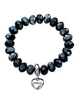 Blue Beaded Bracelet with Silver Tone Heart Charm