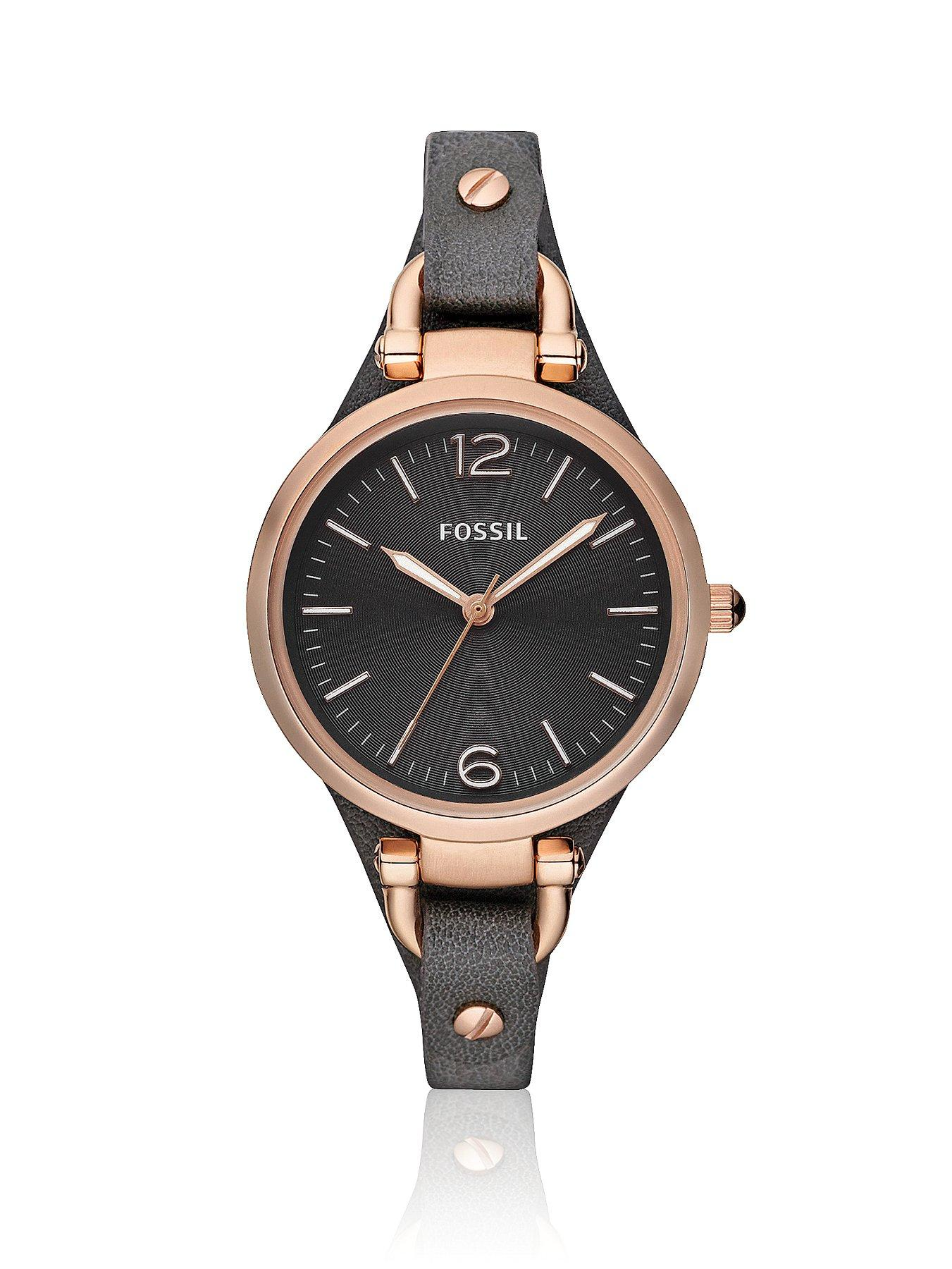 Georgia Rose Gold Bezeland Grey Leather Strap Ladies Watch