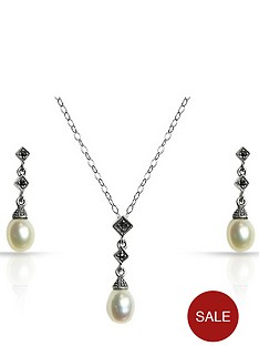 sterling-silver-freshwater-pearl-and-marcasite-pendant-and-earring-set