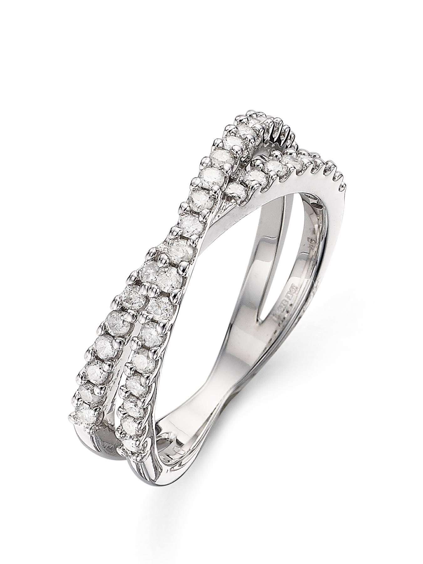 9 Carat White Gold 45 Point Diamond Double Band Ring