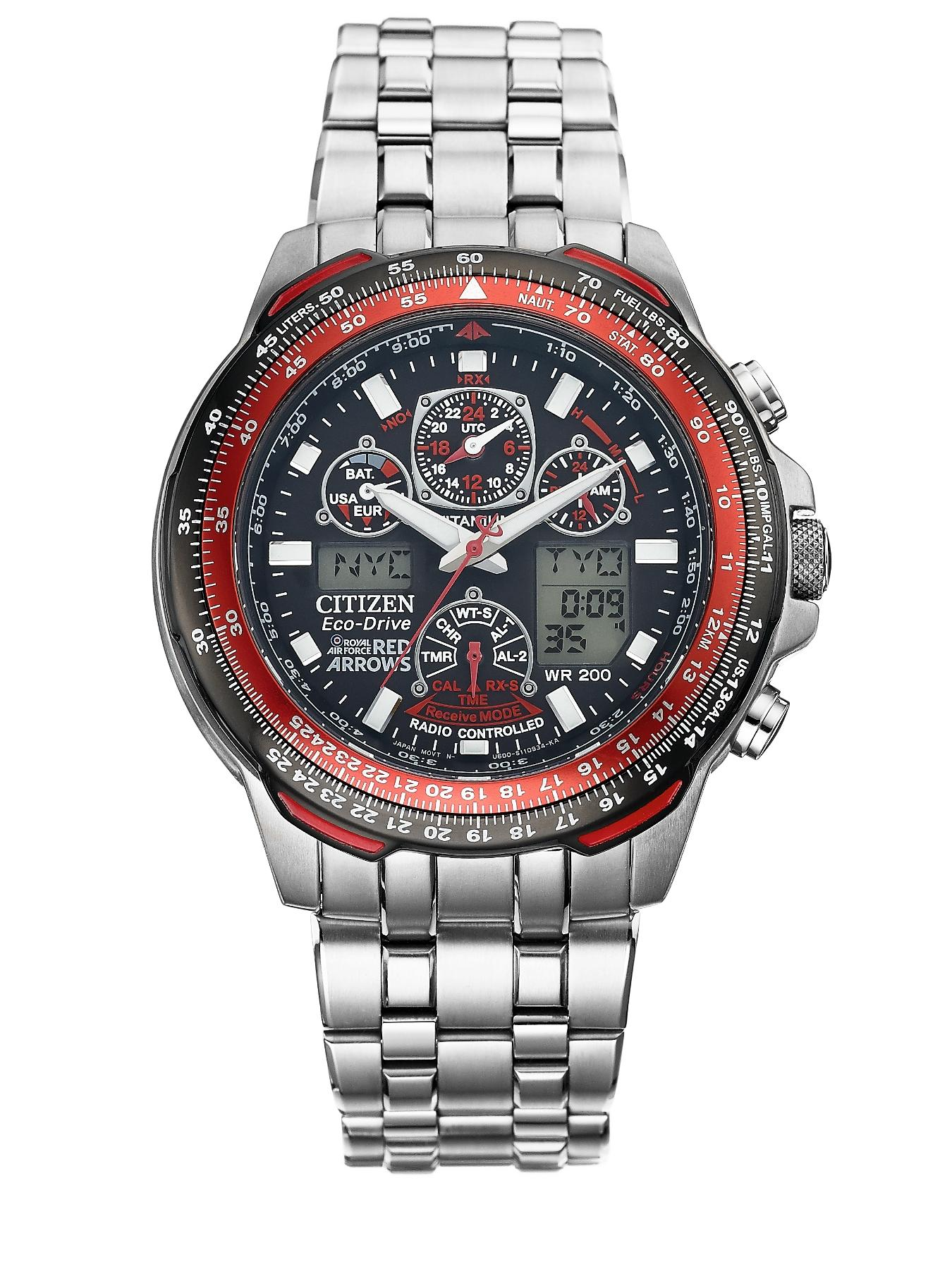 Eco-Drive Red Arrows Skyhawk A.T. Titanium Radio-Controlled Multi-Function Bracelet Mens Watch