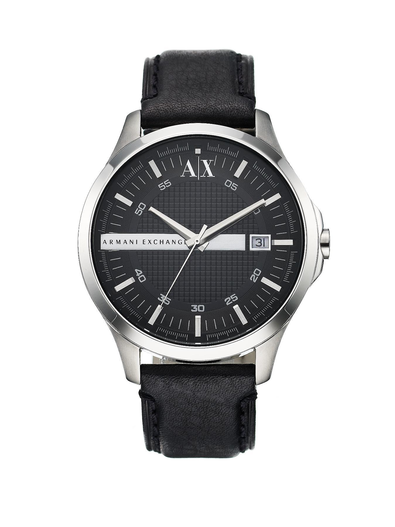 Black Leather Strap Mens Watch