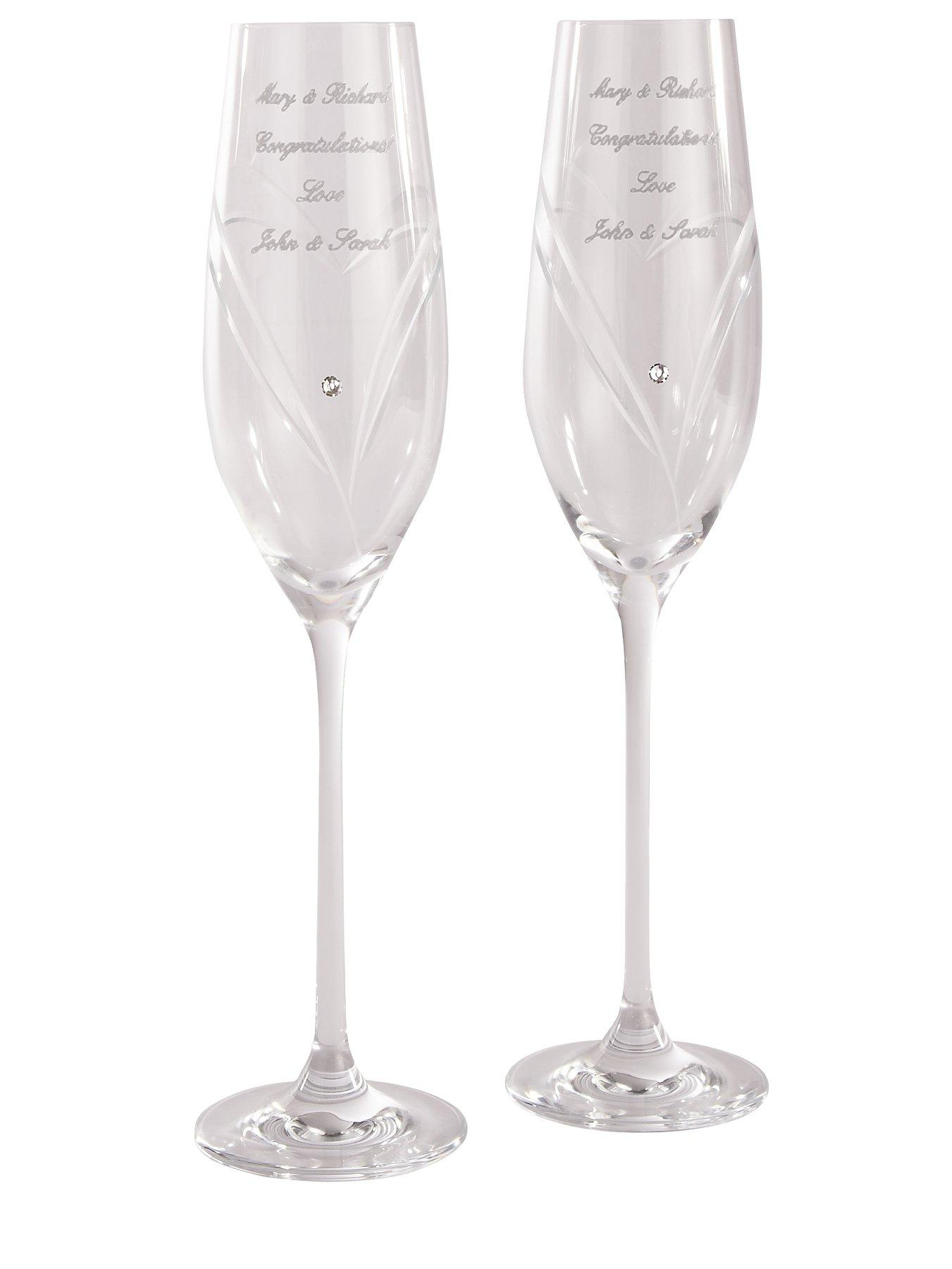 Personalised Heart Flutes with Swarovski Crystal Elements