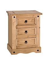 Corona Solid Pine 3-Drawer Bedside Chest