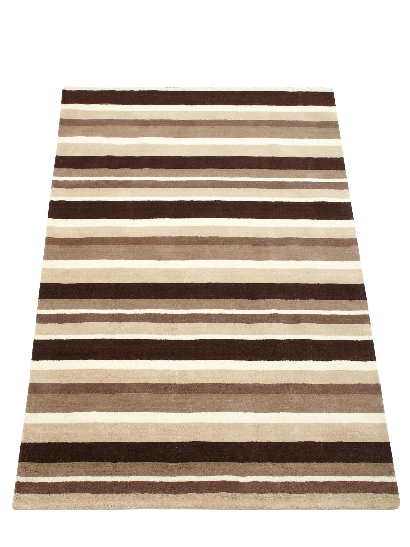 Carved Stripe Wool Rug, Red,Green