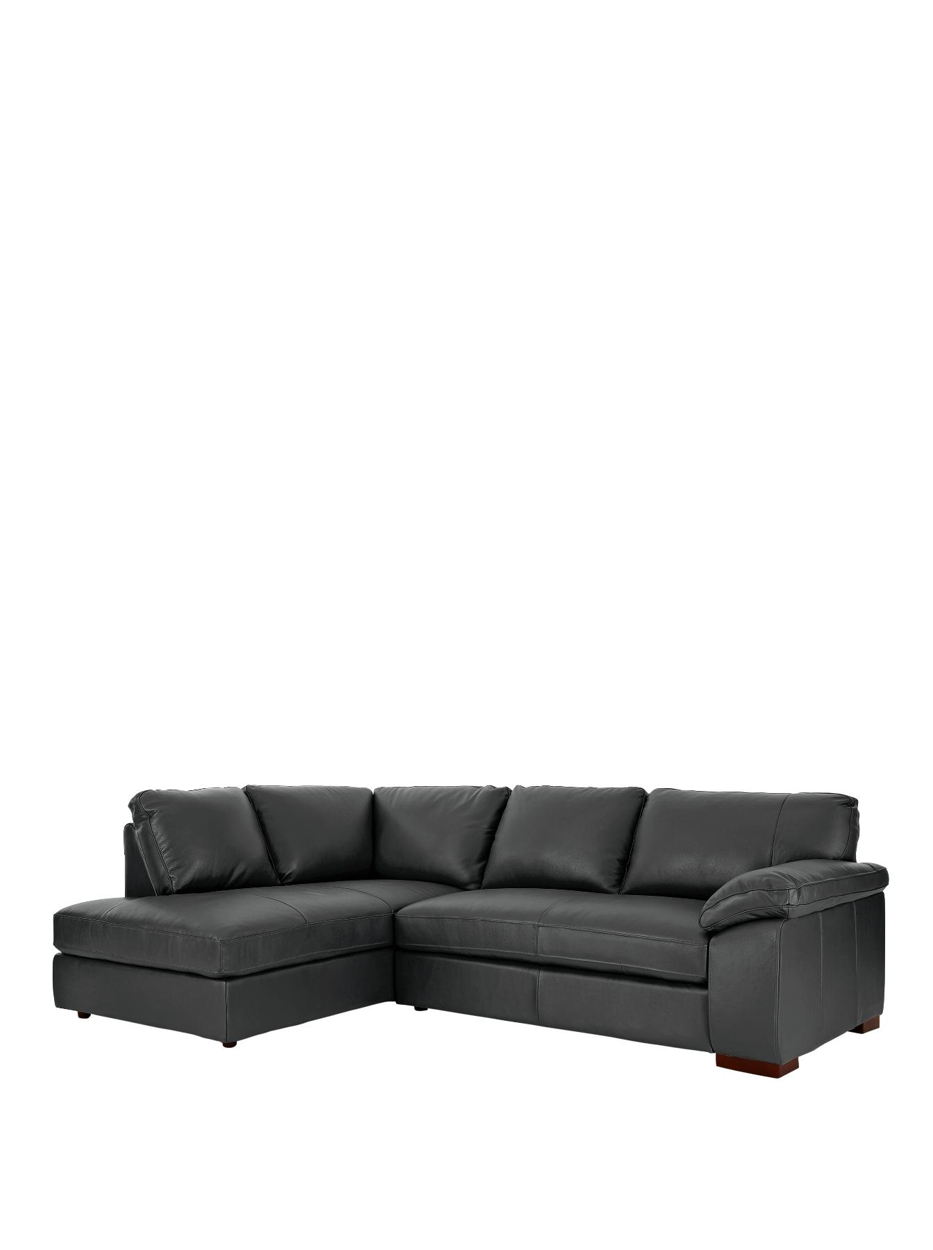 Renee Left Hand Leather Corner Group Sofa BlackTaupe