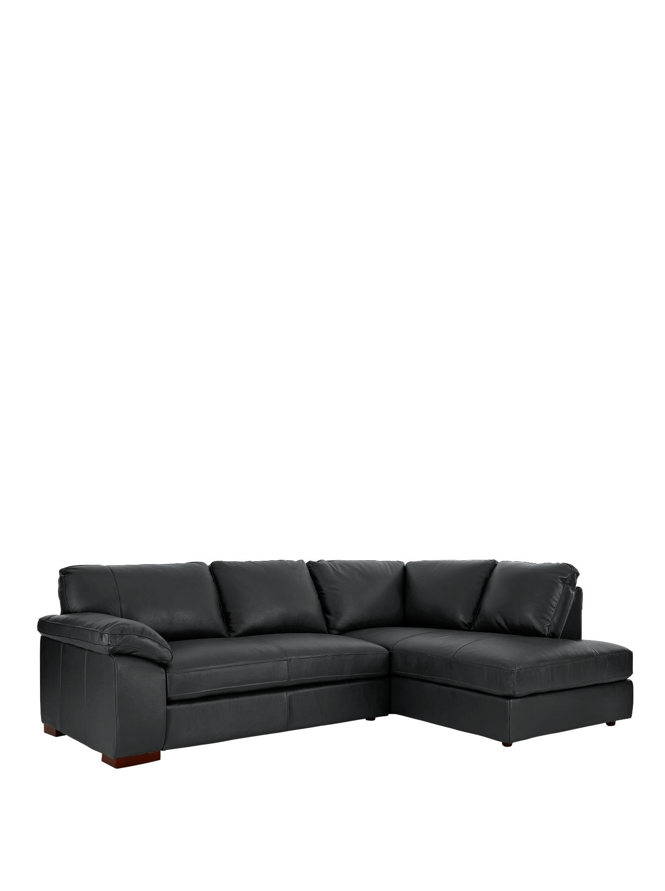 Renee Right Hand Leather Corner Group Sofa BlackTaupe