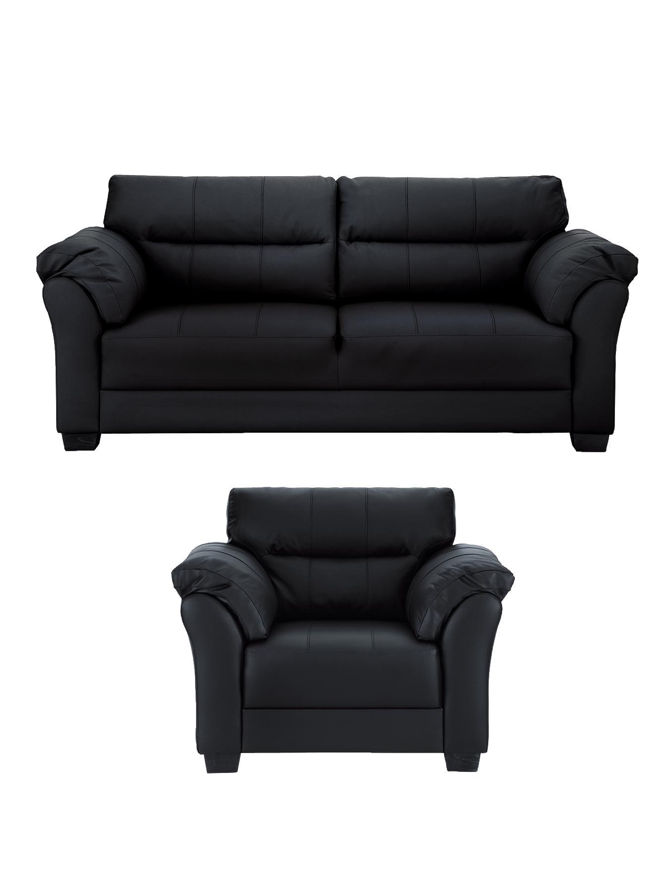 Marino 3-Seater Sofa plus FREE Armchair, Chocolate,Ivory,Black