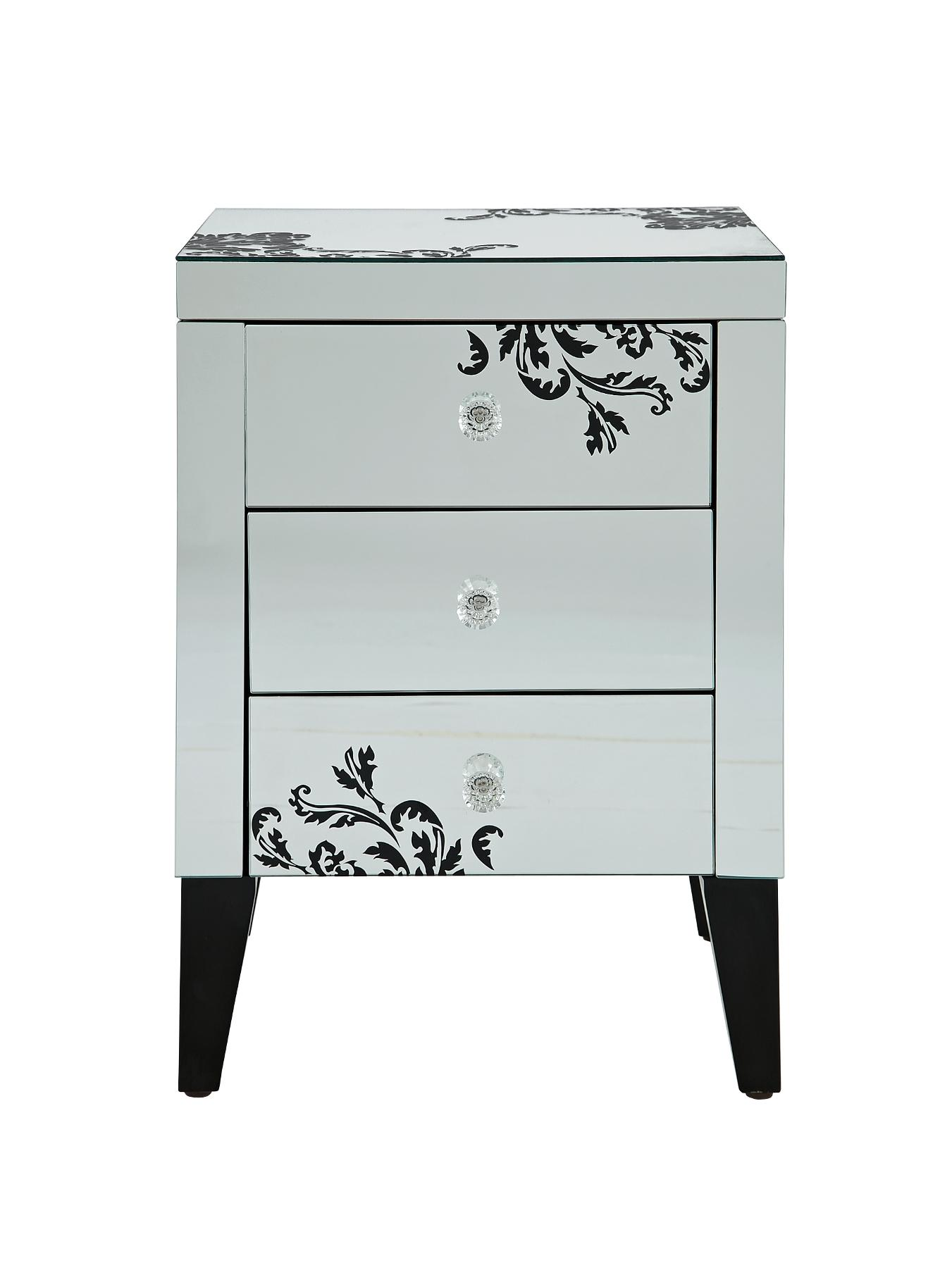 Scaramouche 3-Drawer Table, Silver,Bronze,Black