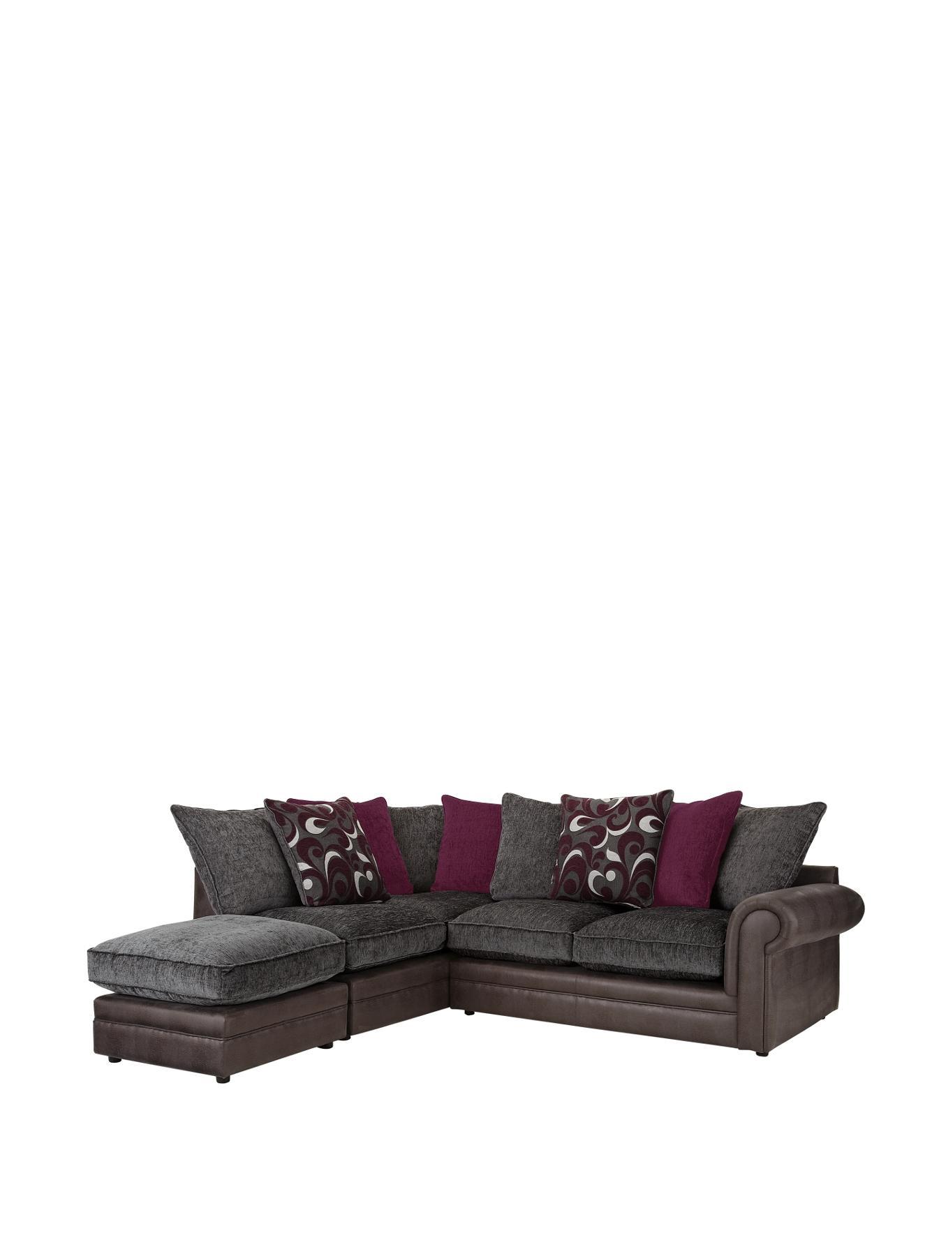 Catarina LeftHand Corner Group Sofa and Footstool ChocolateBlack