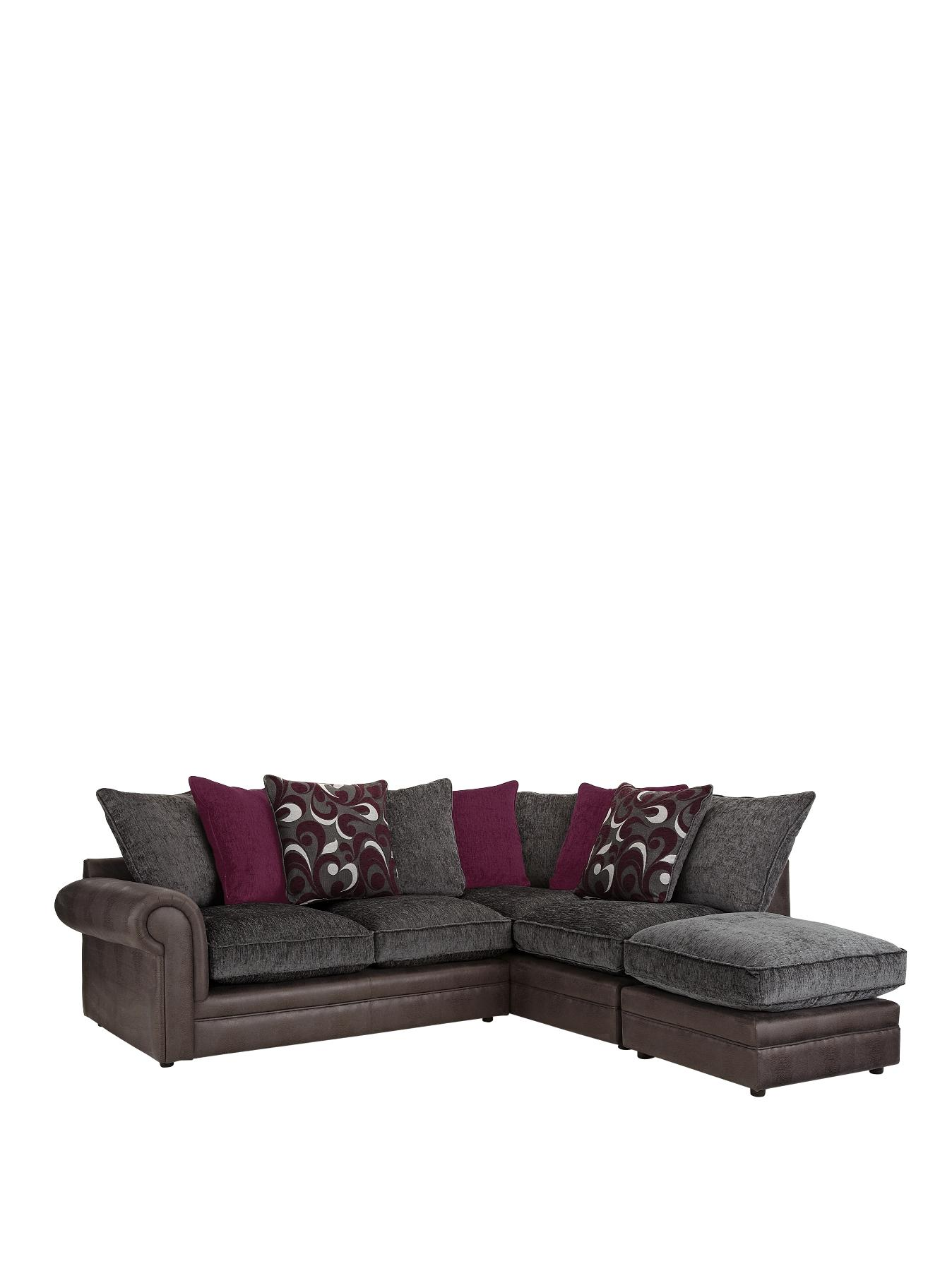 Catarina RightHand Corner Group Sofa and Footstool BlackChocolate