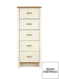 consort-tivoli-ready-assembled-tall-narrow-chest-of-5-drawers