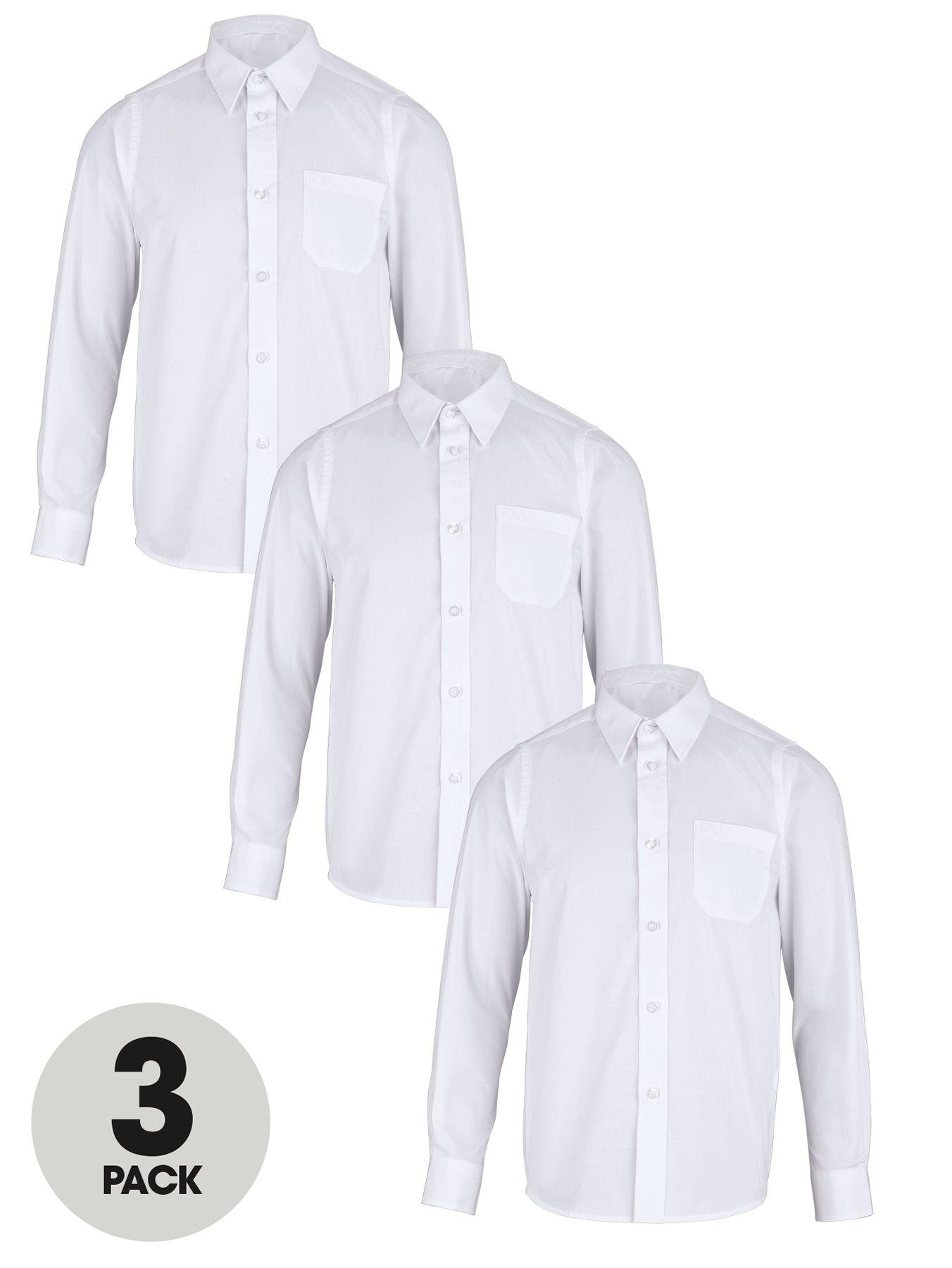 Boys Long Sleeve School Shirts (3 Pack), White,Blue
