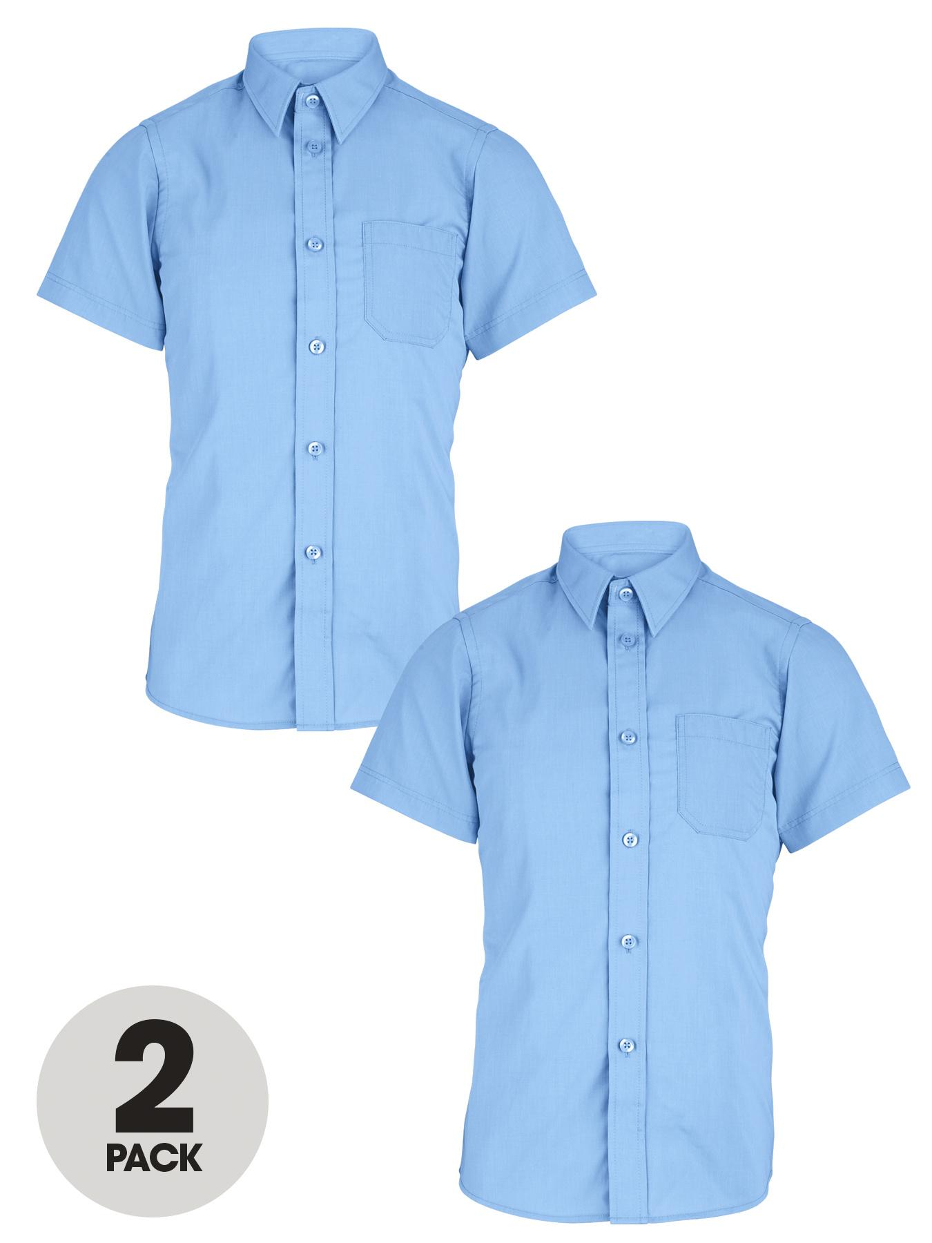 Boys Short Sleeve Shirts (2 Pack), White,Blue at Littlewoods