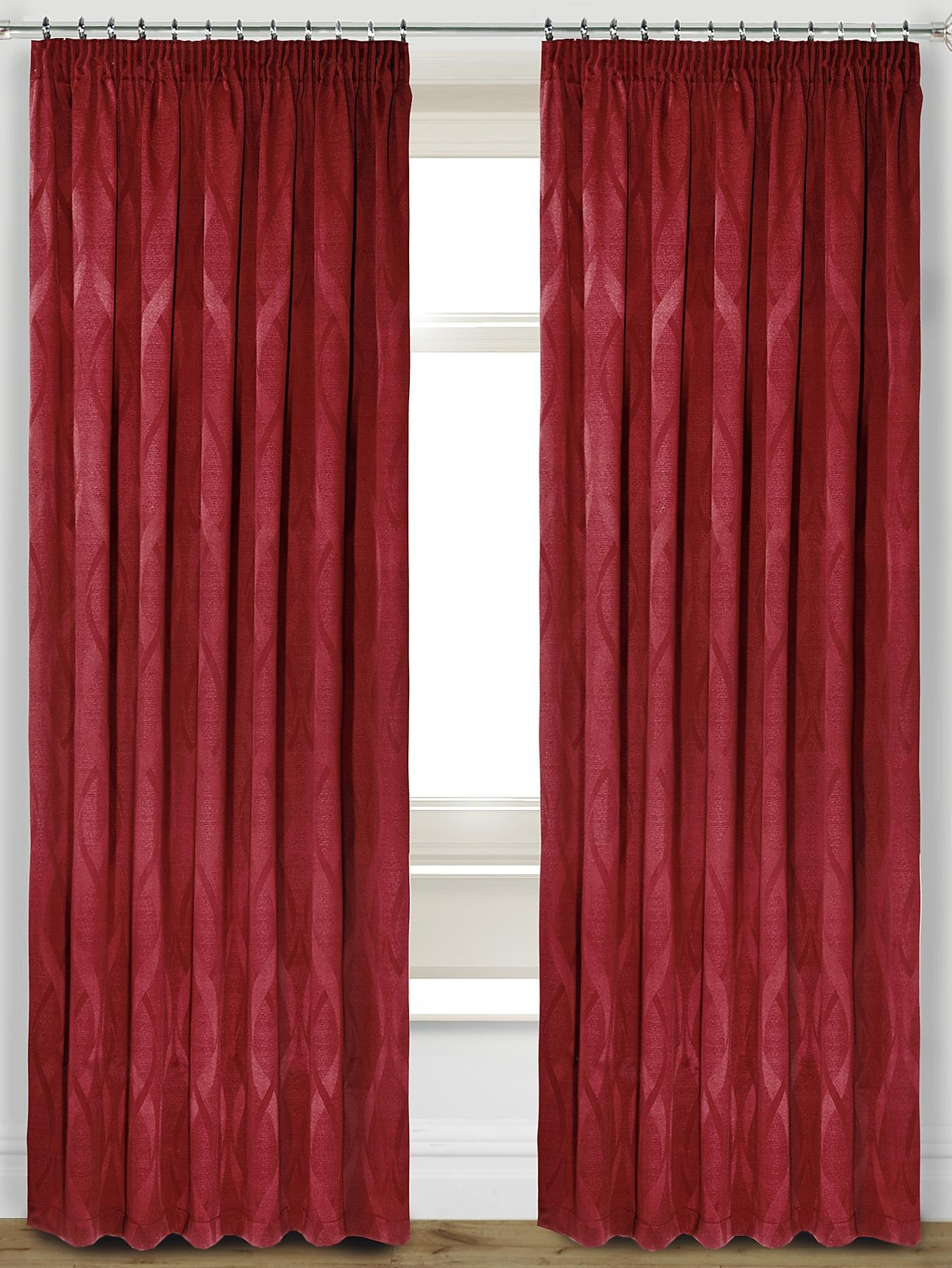 Orion Jacquard Thermal Pencil Pleat Curtains, Chocolate.