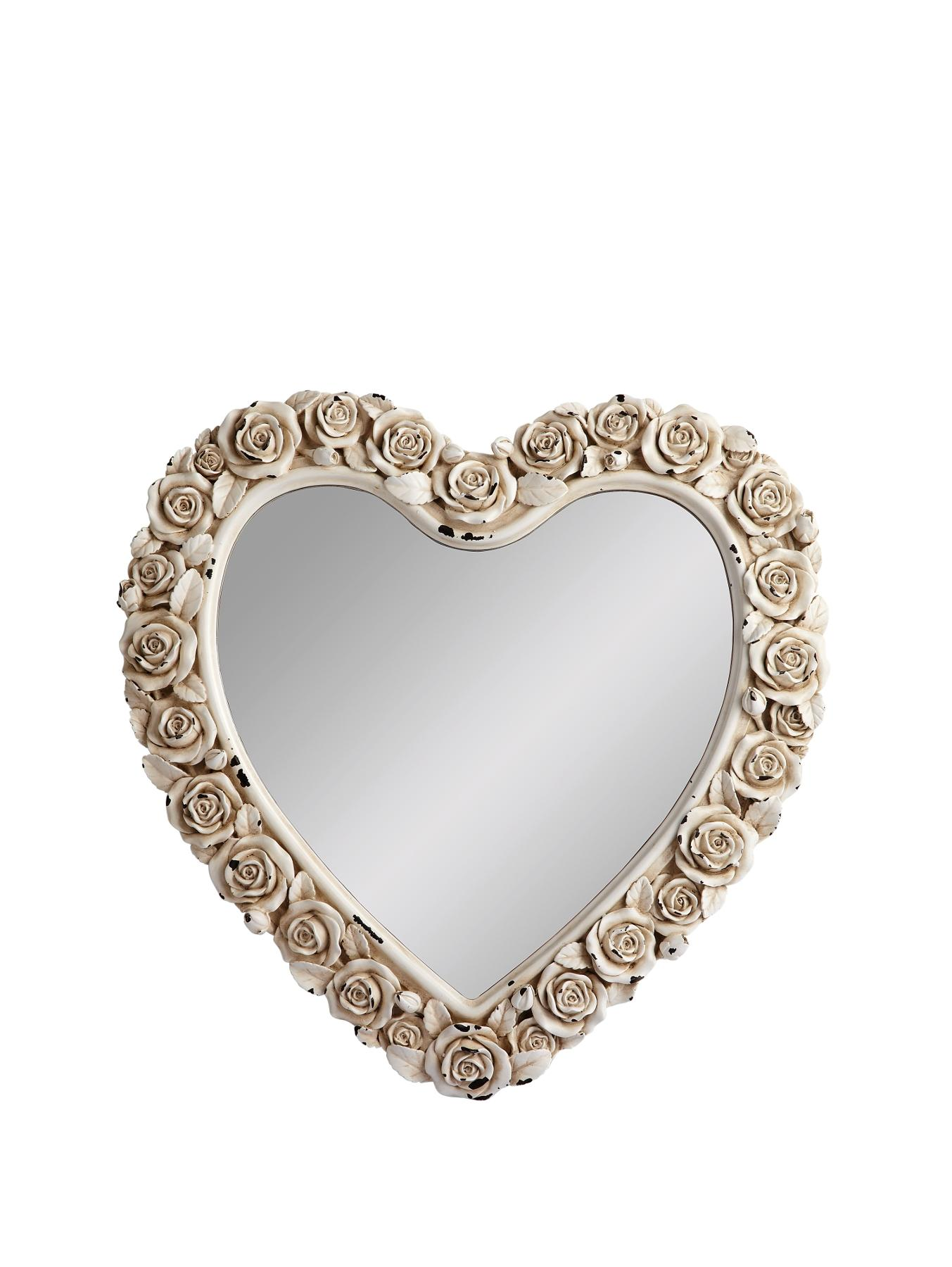 Heart Shaped Mirror With Rose Detail
