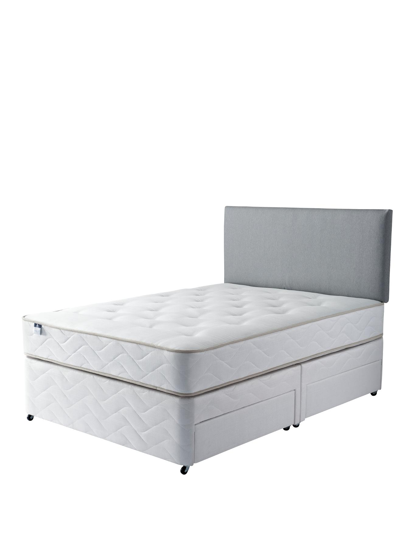 Comfort Classic Deep Quilt Divan Bed - Medium Firm, White,Beige