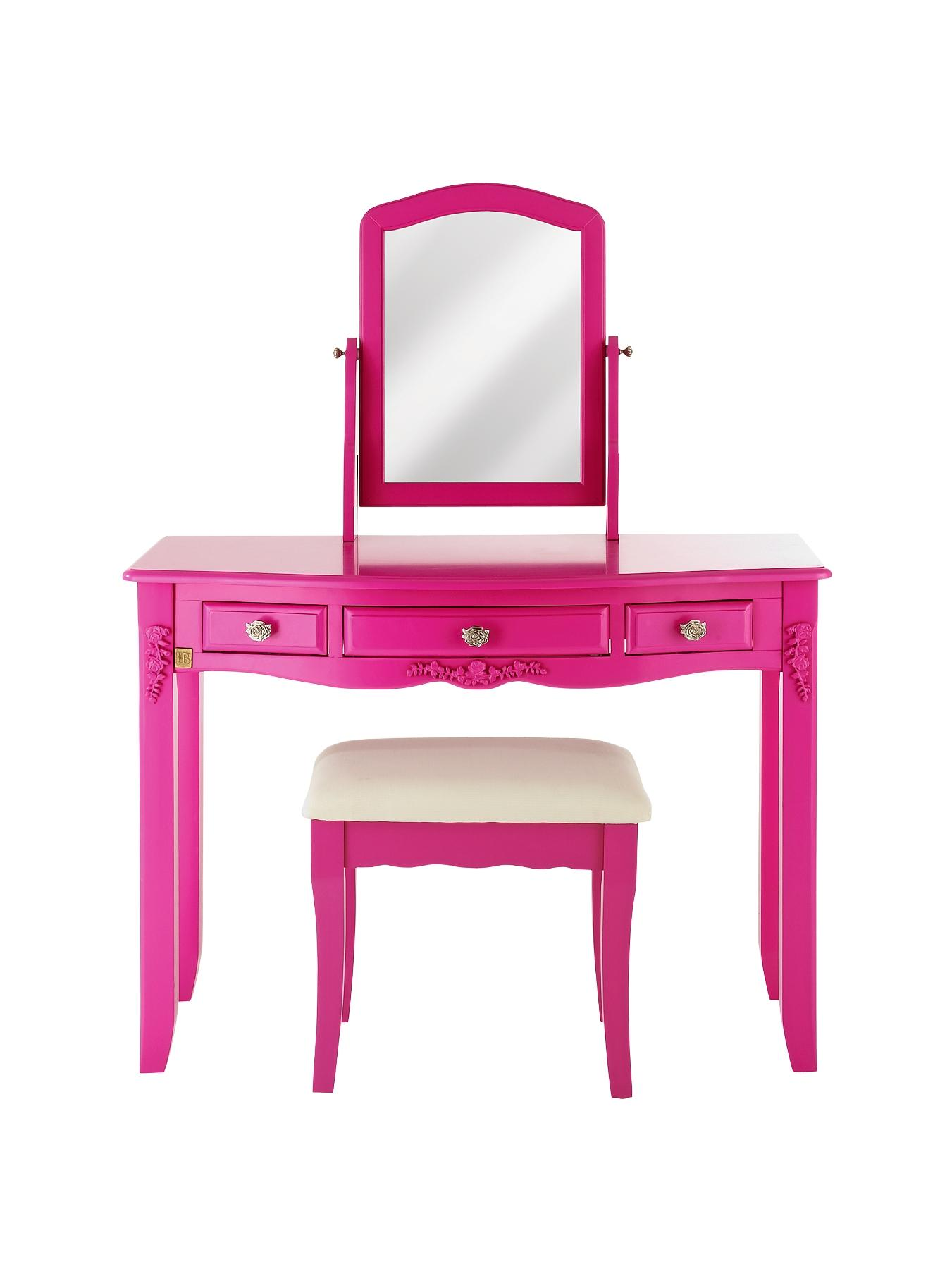 Bonjour Boudoir Kids Dressing Table, Stool and Mirror, Ivory,Pink