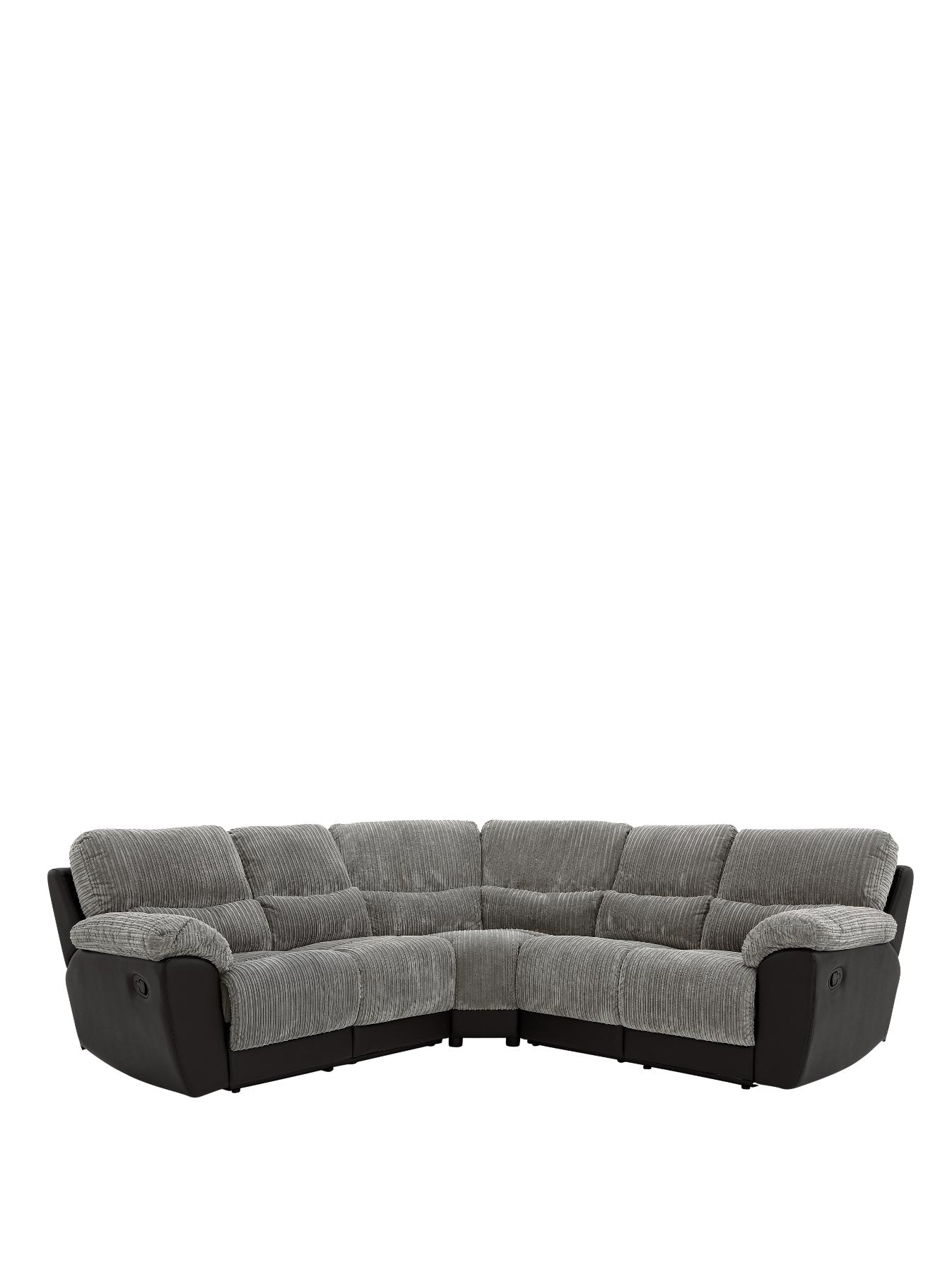 Sienna Fabric and Faux Leather Recliner Corner Group Sofa BlackChocolate