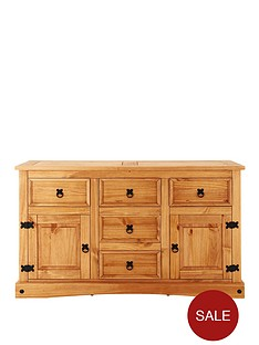 corona-solid-pine-2-door-5-drawer-sideboard