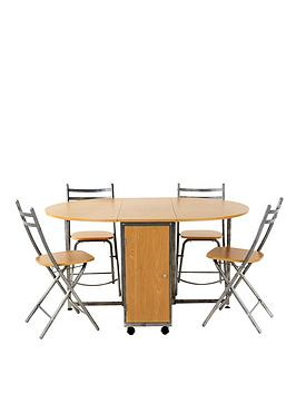 metal-butterfly-dining-table-and-4-folding-chairs