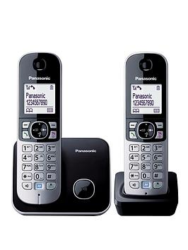 panasonic-kx-tg6812eb-twin-pack-dect-cordless-telephone-black