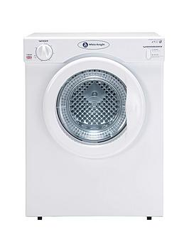 White Knight C38Aw 3Kg Load Compact Vented Dryer With Reverse Tumble  White