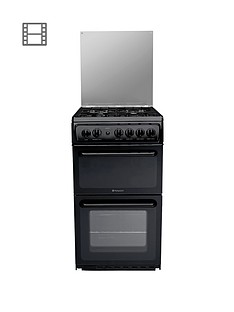 hotpoint-hagl51kl-50cm-twin-cavity-gas-cooker-black