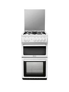 hotpoint-hagl51pl-50cm-twin-cavity-gas-cooker-white