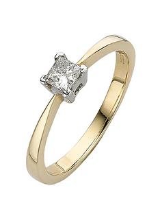 love-diamond-9-carat-yellow-gold-4-claw-033pt-princess-cut-diamond-solitaire-ring
