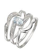 9 Carat White Gold 0.05pt Diamond and 0.62 Carat Blue Topaz Bridal Set