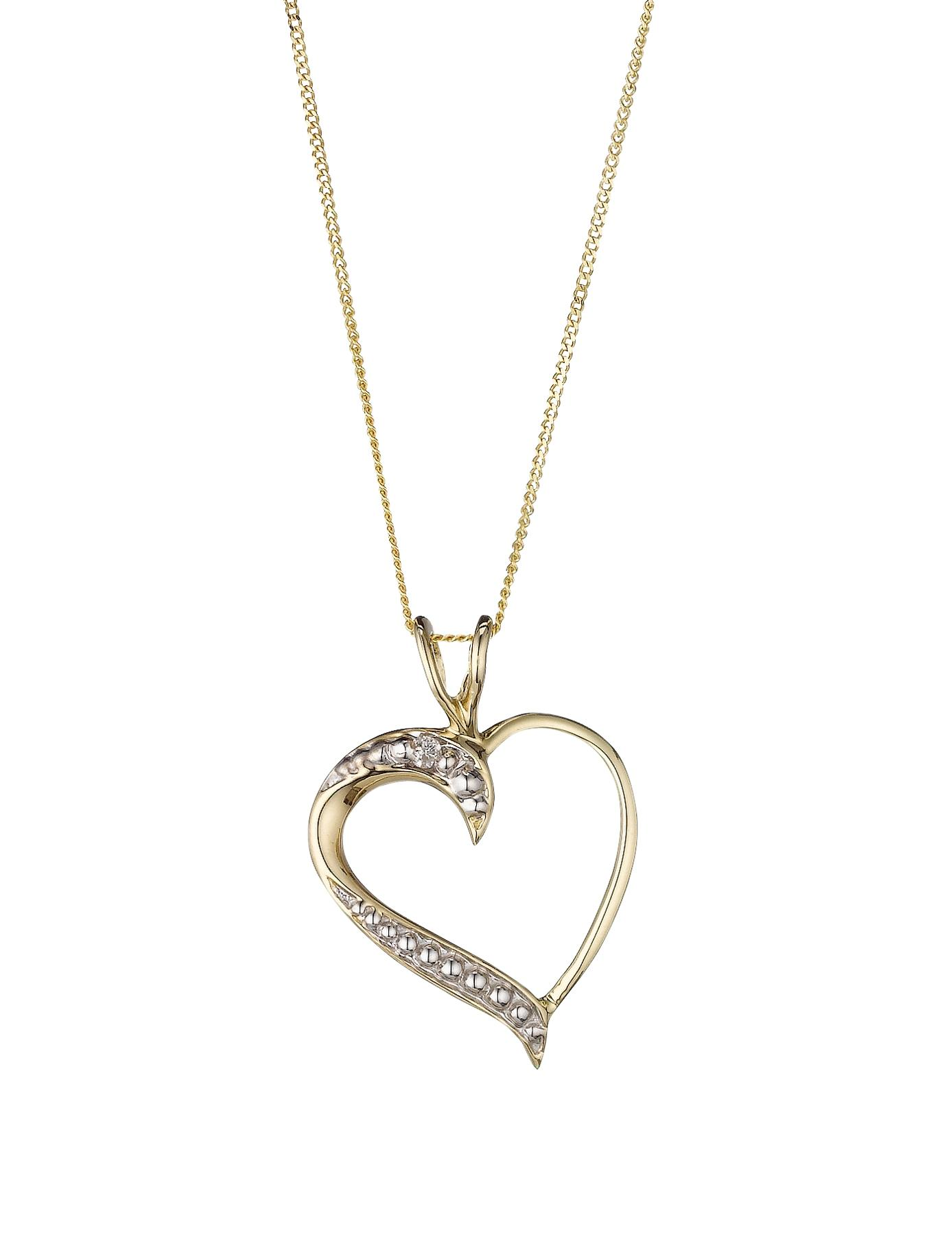 9 Carat Yellow Gold Diamond Set Heart Pendant