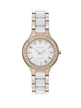 dkny-ladies-gold-and-white-ceramix-watch