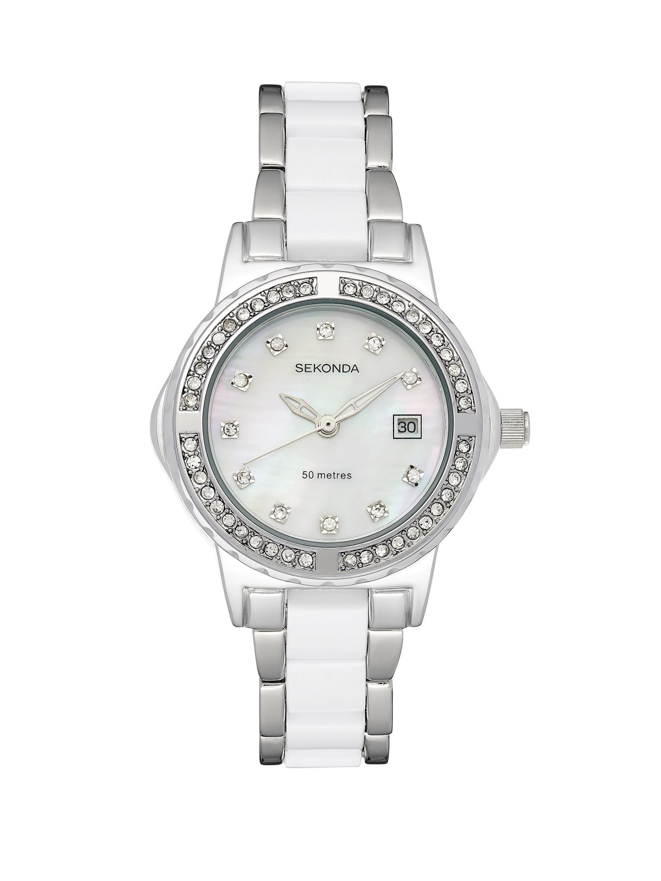 Ladies White and Stainless Steel Bracelet Watch