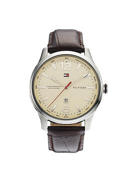 tommy-hilfiger-mens-brown-leather-strap-watch