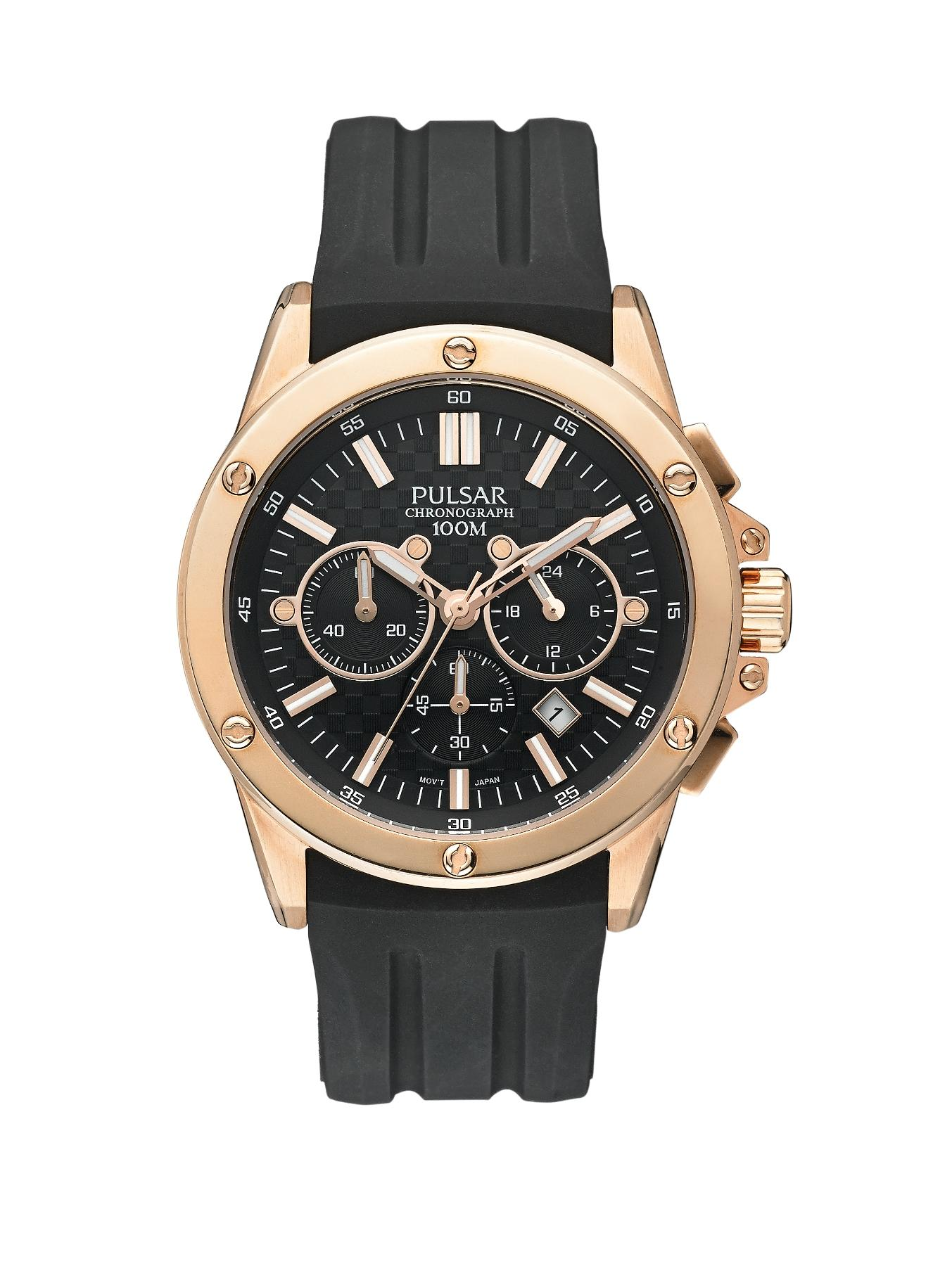 Mens Rose Gold Black Silicon Strap Watch